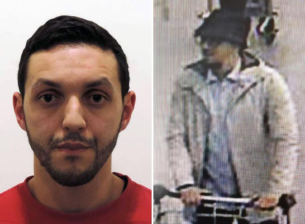 "Mohamed Abrini (L) dubbed the ""man in the hat"" from images caught on security cameras, fled Brussels airport without detonating his bomb during the March 22, 2016 attacks (AFP Photo/HO)"