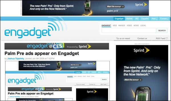 Palm Pre ads appear on Engadget
