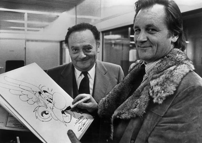 """Asterix"" creators Albert Uderzo, right, and Rene Goscinny in the 1970s. (AFP Photo/STAFF)"