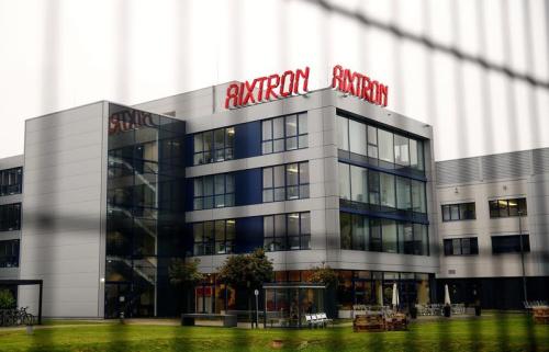 The headquarters of German chip equipment maker Aixtron SE is pictured in Herzogenrath