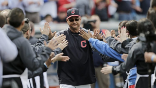 Cleveland Indians manager Terry Francona is introduced before a baseball game between the Chicago White Sox and the Cleveland Indians, Tuesday, April 11, 2017, during opening day in Cleveland. (AP Photo/Tony Dejak)