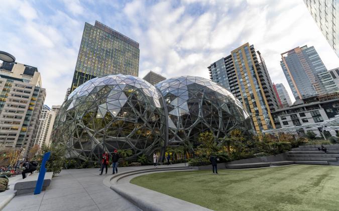 Seattle, Washington USA - Dec 2, 2019: Amazon Spheres Famous Architecture at the World Headquarters