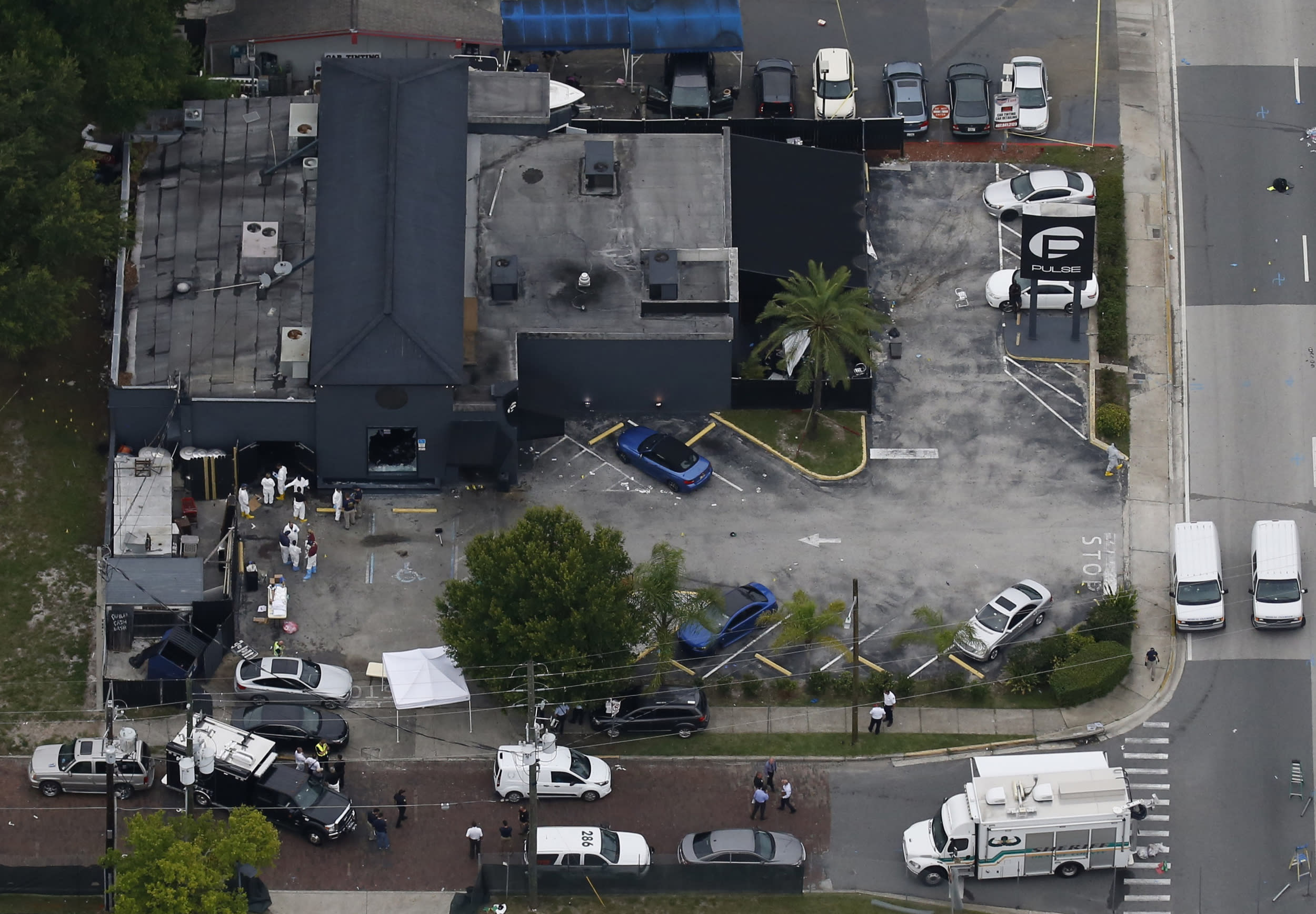 An aerial view shows the Pulse gay night club after a mass shooting in Orlando, Florida, U.S. June 12, 2016.  REUTERS/Carlo Allegri