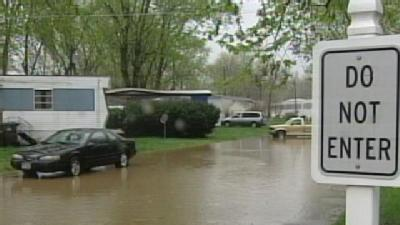 Creek Overflows Banks At Madison Twp. Trailer Park