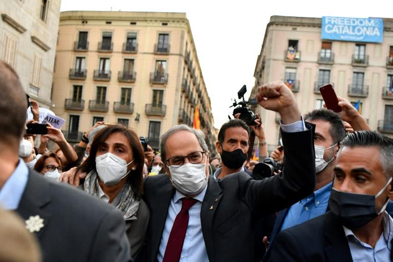 Quim Torra raises his fist during a demonstration organised by grassroots pro-independence groups after the decision by Spain's Supreme Court
