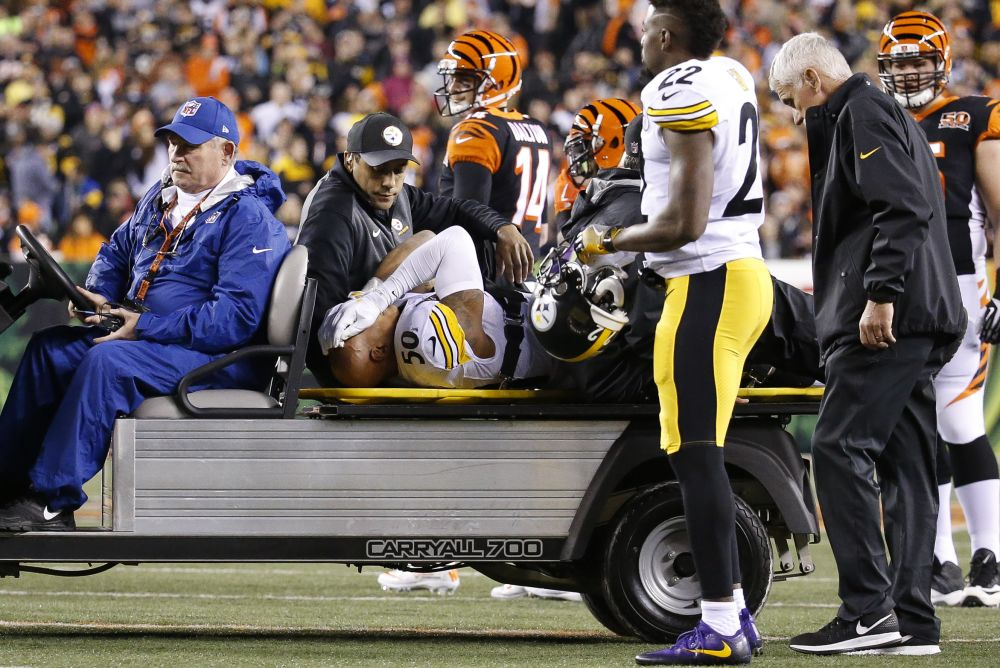Pittsburgh Steelers inside linebacker Ryan Shazier (50) is carted off the field on Monday night. (AP)