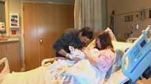 'We're in shock': Mum, dad and new baby all share Christmas Eve birthdays