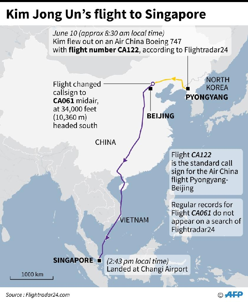 Map showing reported flight details of Kim Jong Un to Singapore. (AFP Photo/Laurence CHU)