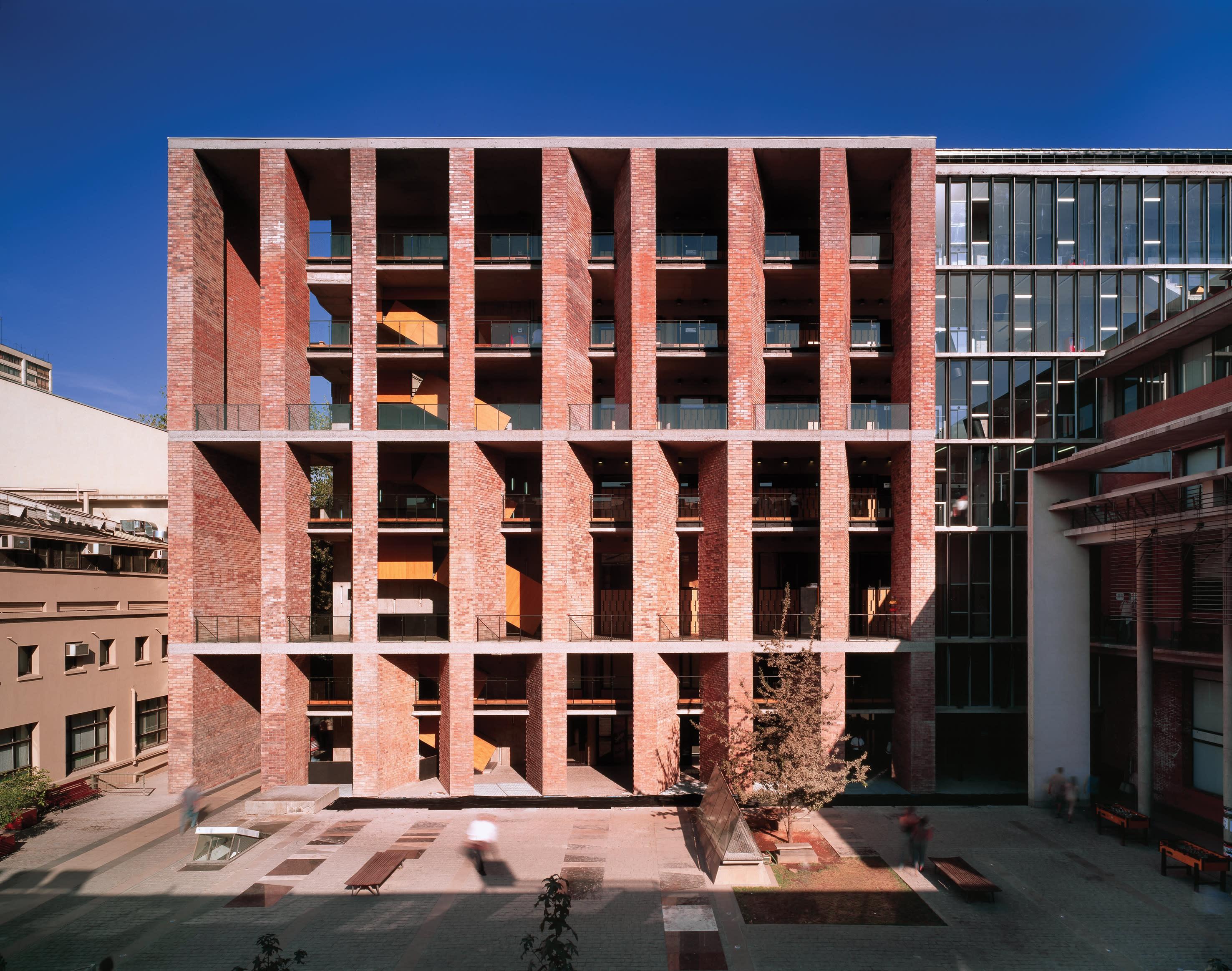 Chilean architect Alejandro Aravena, center, has won the 2016 Pritzker Prize. His UC Innovation Center at the San Joaquín Campus, Universidad Católica de Chile Santiago (left) and Constitución Cultural Center (right) from 2014, also in Chile, represent recent built work...