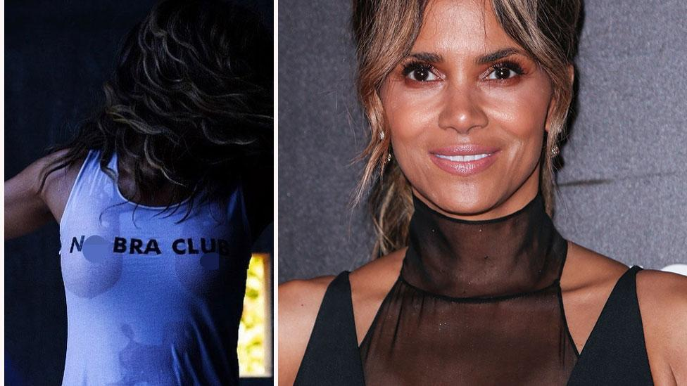 Halle Berry, 53, rocks a wet t-shirt and no bra on her birthday