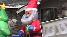 Man shocked by racist letter about his Christmas decorations