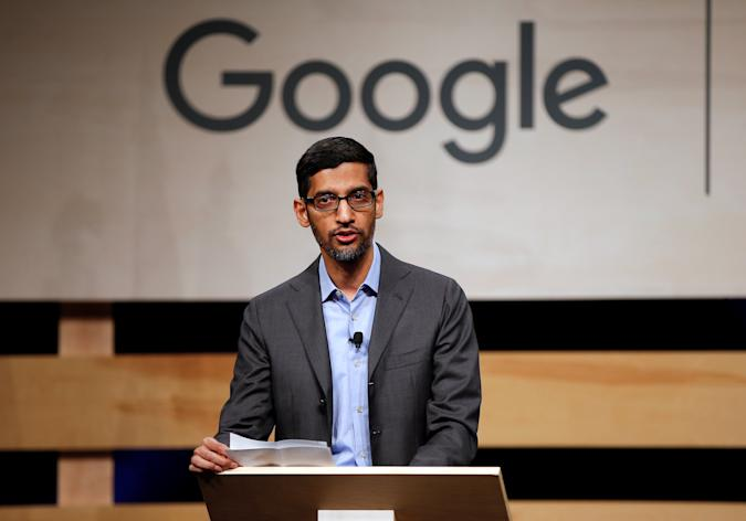 Google CEO Sundar Pichai speaks during signing ceremony committing Google to help expand information technology education at El Centro College in Dallas, Texas, U.S. October 3, 2019.  REUTERS/Brandon Wade