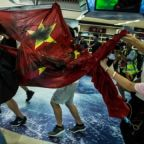 Hong Kong protests: China flag trampled