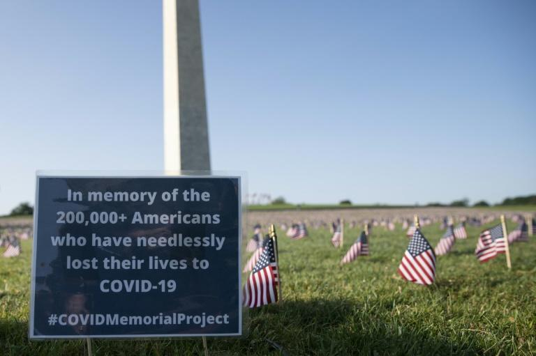A memorial for the 200,000 people who have died as a result of COVID-19 is seen on the National Mall in Washington, DC