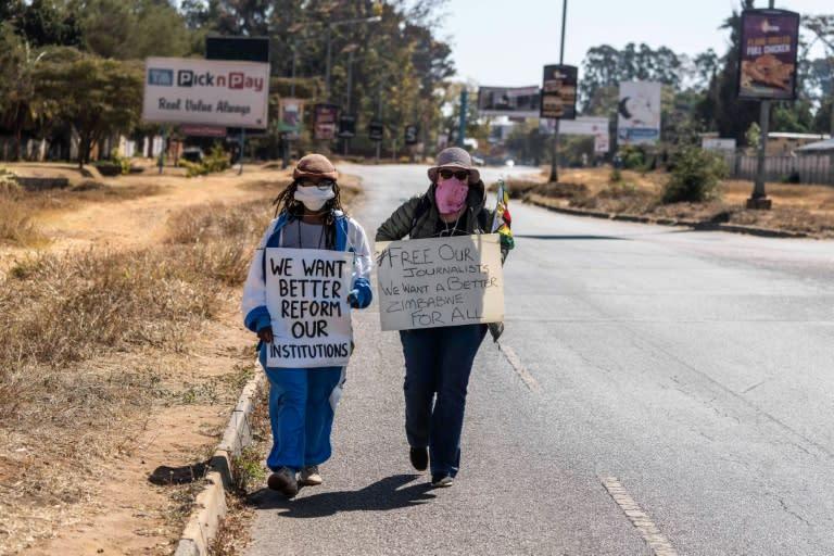 Protest: Zimbabwean novelist Tsitsi Dangarembga, left, and friend Julie Barnes, shortly before their arrest