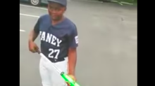 Kid who got bat from dad in viral video hits homer with bat to his dad
