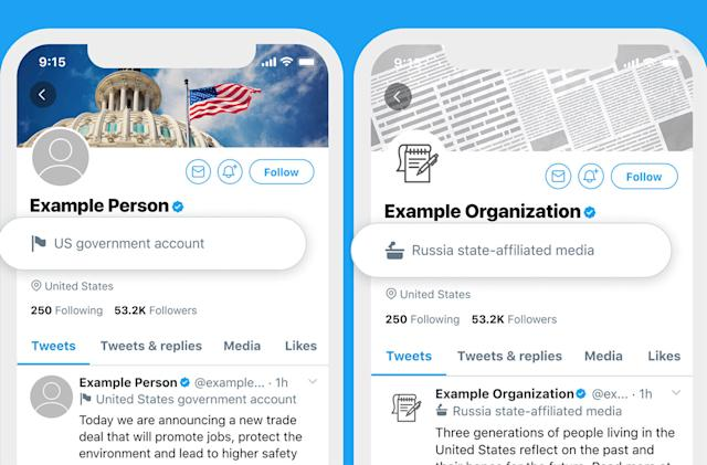 Twitter adds labels to state-backed media and government accounts