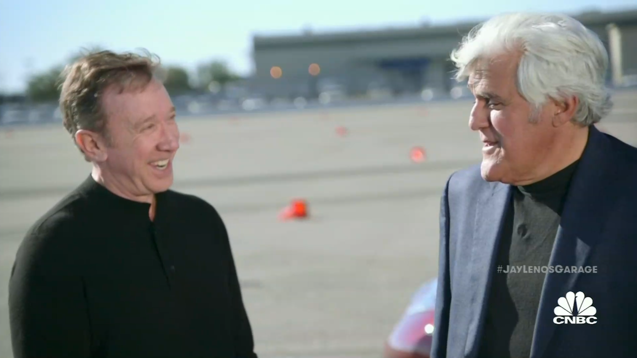 tim allen and jay leno drift race each other in electric. Black Bedroom Furniture Sets. Home Design Ideas
