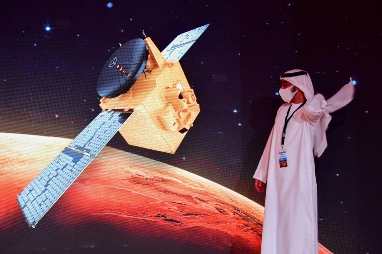 """The unmanned Emirati probe, known as """"Al-Amal"""" in Arabic, is one of three spacecraft racing to Mars, including Tianwen-1 from China and Mars 2020 from the United States (AFP Photo/Giuseppe CACACE)"""