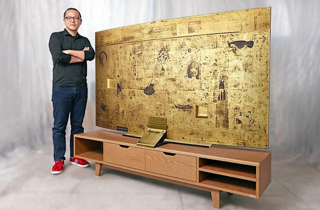 Samsung made a 78-inch curved TV and decided to cover the back in gold