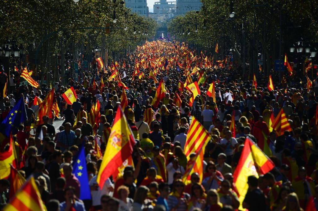 Tens of thousands of people protested in support of Spanish unity (AFP Photo/PIERRE-PHILIPPE MARCOU )