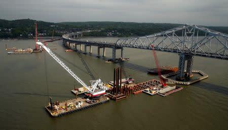 Construction is seen under way on the Tappan Zee Bridge in Tarrytown