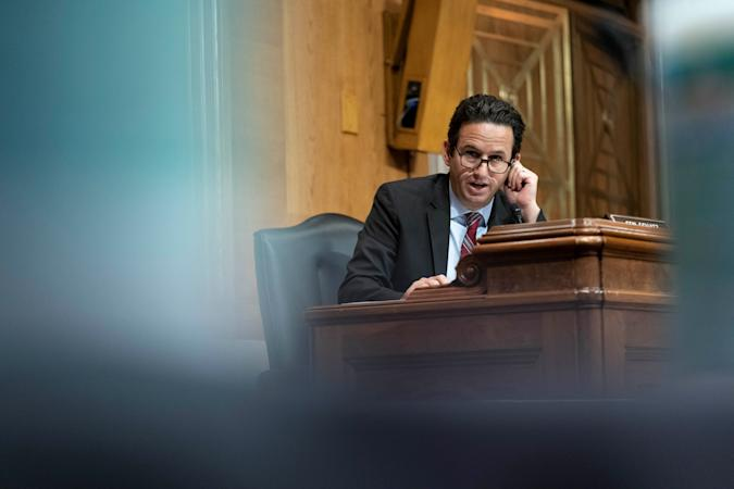Senator Brian Schatz (D-HI) questions witnesses during a Senate Appropriations Labor, Health and Human Services Subcommittee hearing looking into the budget estimates for National Institute of Health (NIH) and state of medical research on Capitol Hill in Washington, U.S., May 26, 2021. Sarah Silbiger/Pool via REUTERS