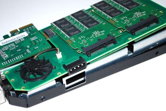 Prototype OCZ Z-Drive PCI-Express SSD splayed, scoped out