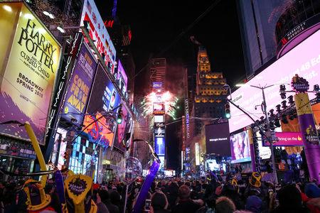 file photo revelers celebrate the new years eve in times square