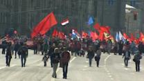 Ukrainians, Russians put conflict at center of May Day