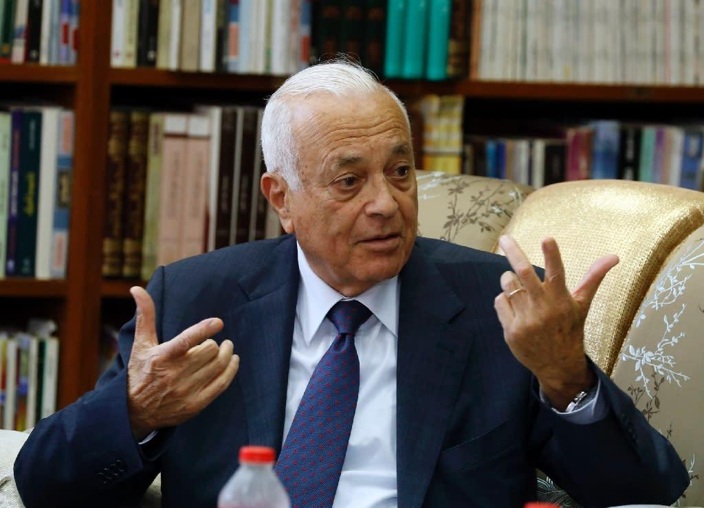 Arab League Secretary General Nabil al-Arabi speaks during meeting with Iraqi Foreign Minister Ibrahim al-Jaafari (unseen) and an Arab League delegation in Baghdad on October 19, 2014