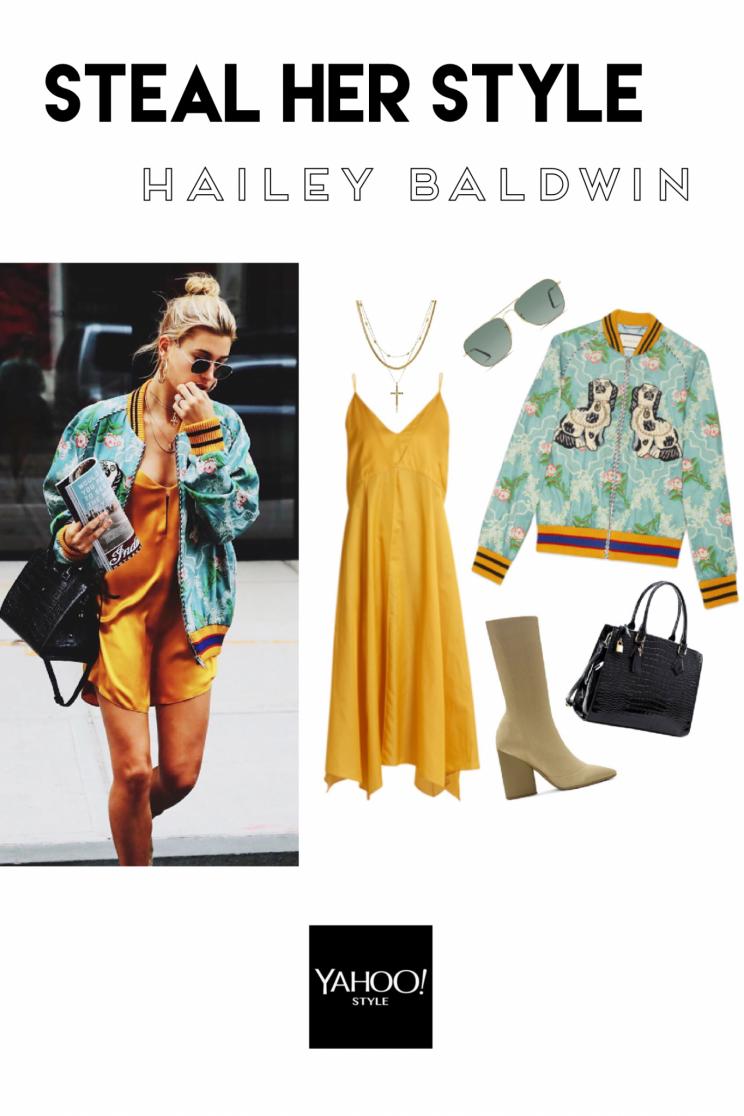 8121fdca35e Hailey Baldwin Street Style (Bild: Getty Images; Collage via Polyvore;  Bomberjacke mit