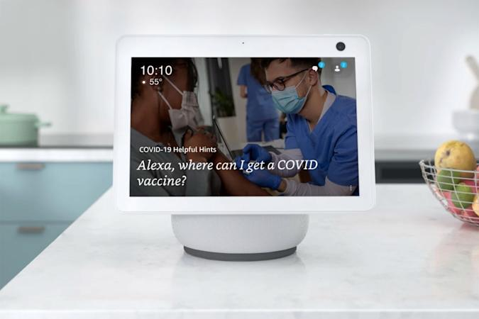 Amazon Echo Show 10 answering Alexa question about COVID-19 vaccine