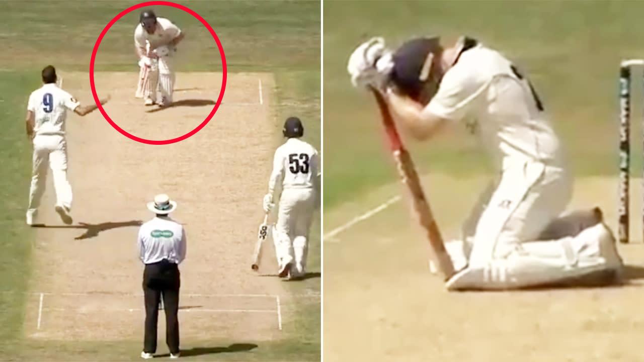 'So painful': Aussie batsman retires hurt after nightmare low blow