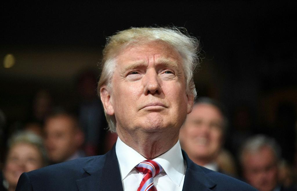 Republican presidential candidate Donald Trump is seen on day three of the Republican National Convention at the Quicken Loans Arena in Cleveland, Ohio on July 20, 2016 (AFP Photo/Jim Watson)
