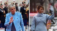 Brigitte Macron in azzurro come Melania Trump