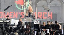 """Mira Sorvino Rips """"Predators"""" Harvey Weinstein, Bill Cosby, R. Kelly At Women's March LA"""