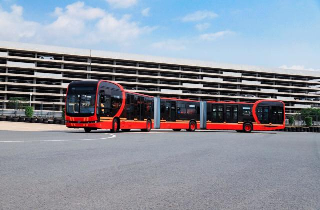 An 88-foot-long electric bus is headed to Colombia