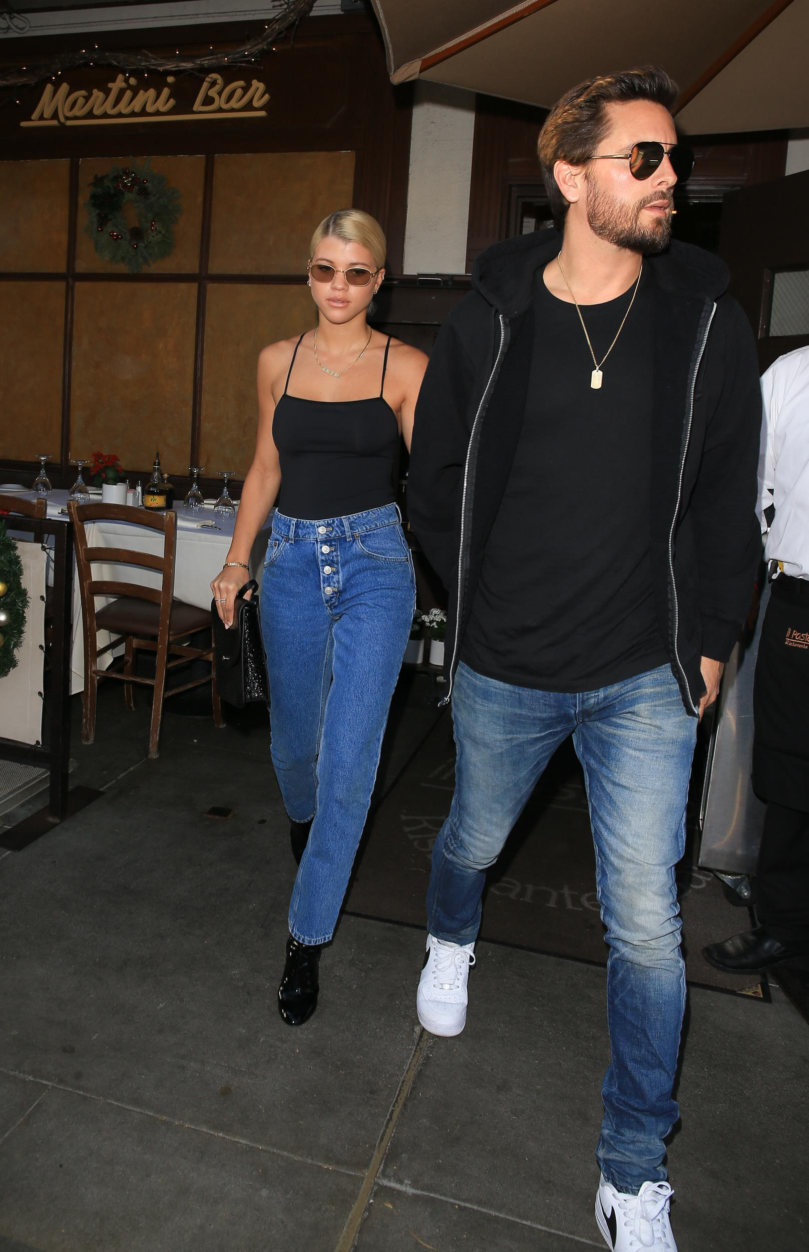 LOS ANGELES, CA - DECEMBER 13: Sofia Richie and Scott Disick are seen on December 13, 2017 in Los Angeles, California.  (Photo by Bauer-Griffin/GC Images)