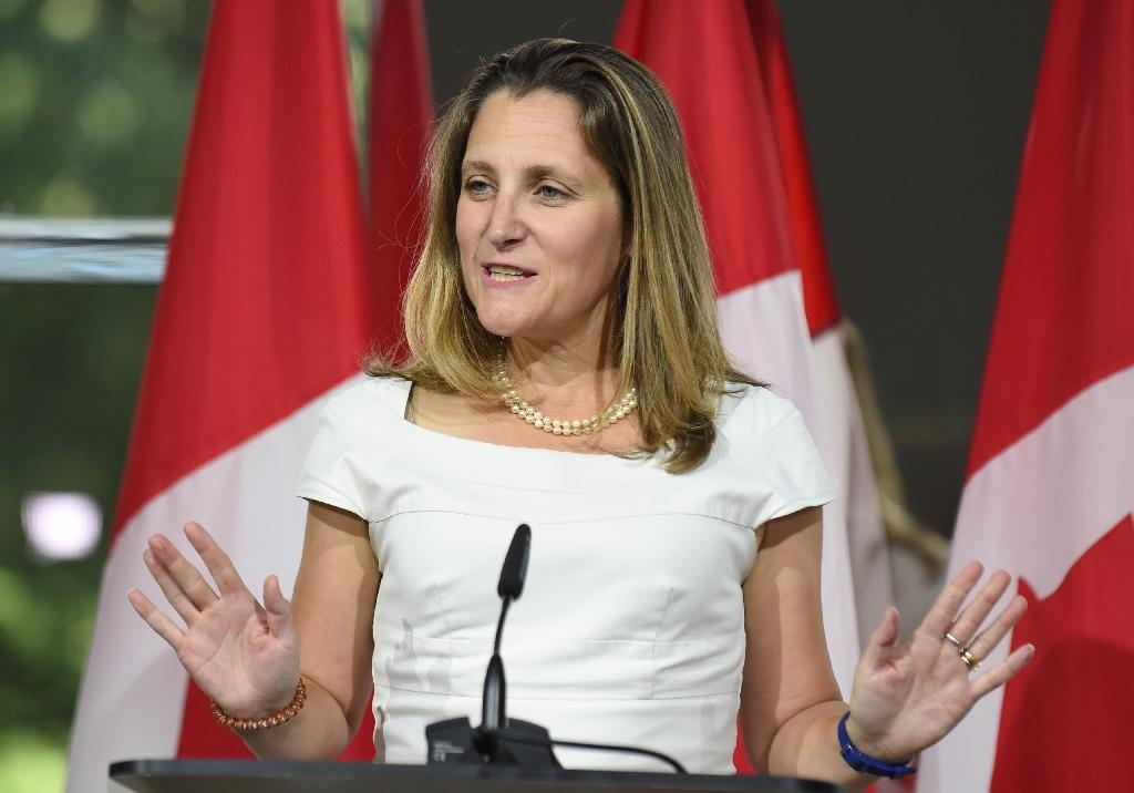 """Canadian Foreign Minister Chrystia Freeland (pictured August 2018) said that """"now more than ever we feel is the time to have the (steel and aluminum) tariffs lifted"""" (AFP Photo/Eric BARADAT )"""