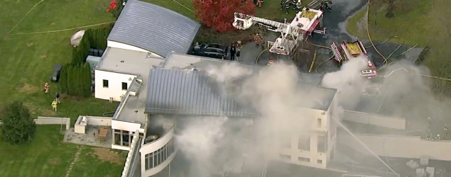 A mansion on fire in Colts Neck, N.J. (AP)