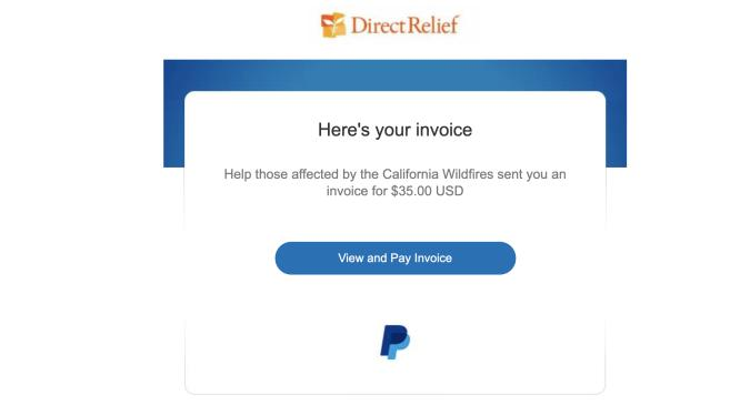 Screenshot of a PayPal invoice scam.