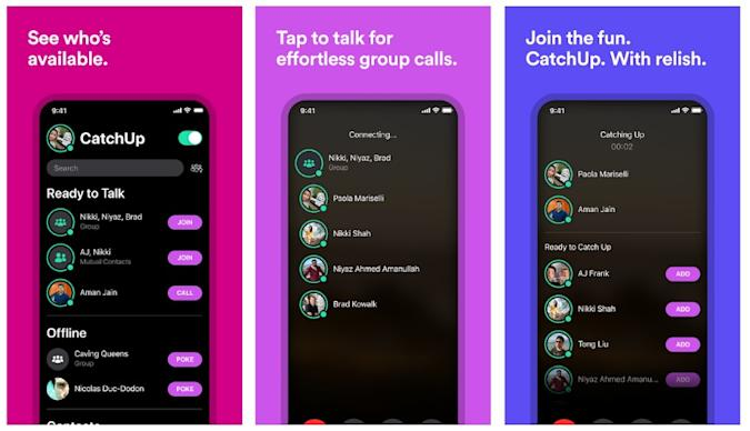 Screenshots of Facebook's audio-only group call app CatchUp.