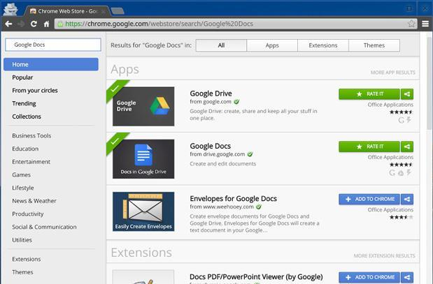 Chrome Web Store search overhaul puts top category results on one page