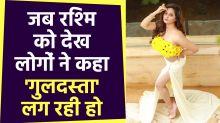 Rashmi Desai was doing a glamorous photoshoot in a floral top