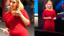 Meteorologist hits back at online bullies after being told to cover up her stomach 'bulge'