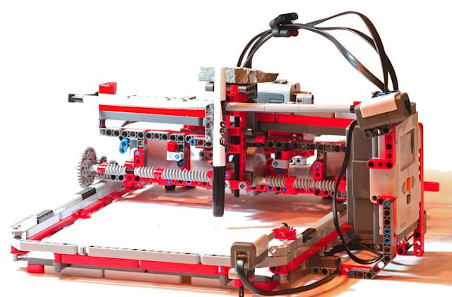 Six gadgets made from LEGO bricks