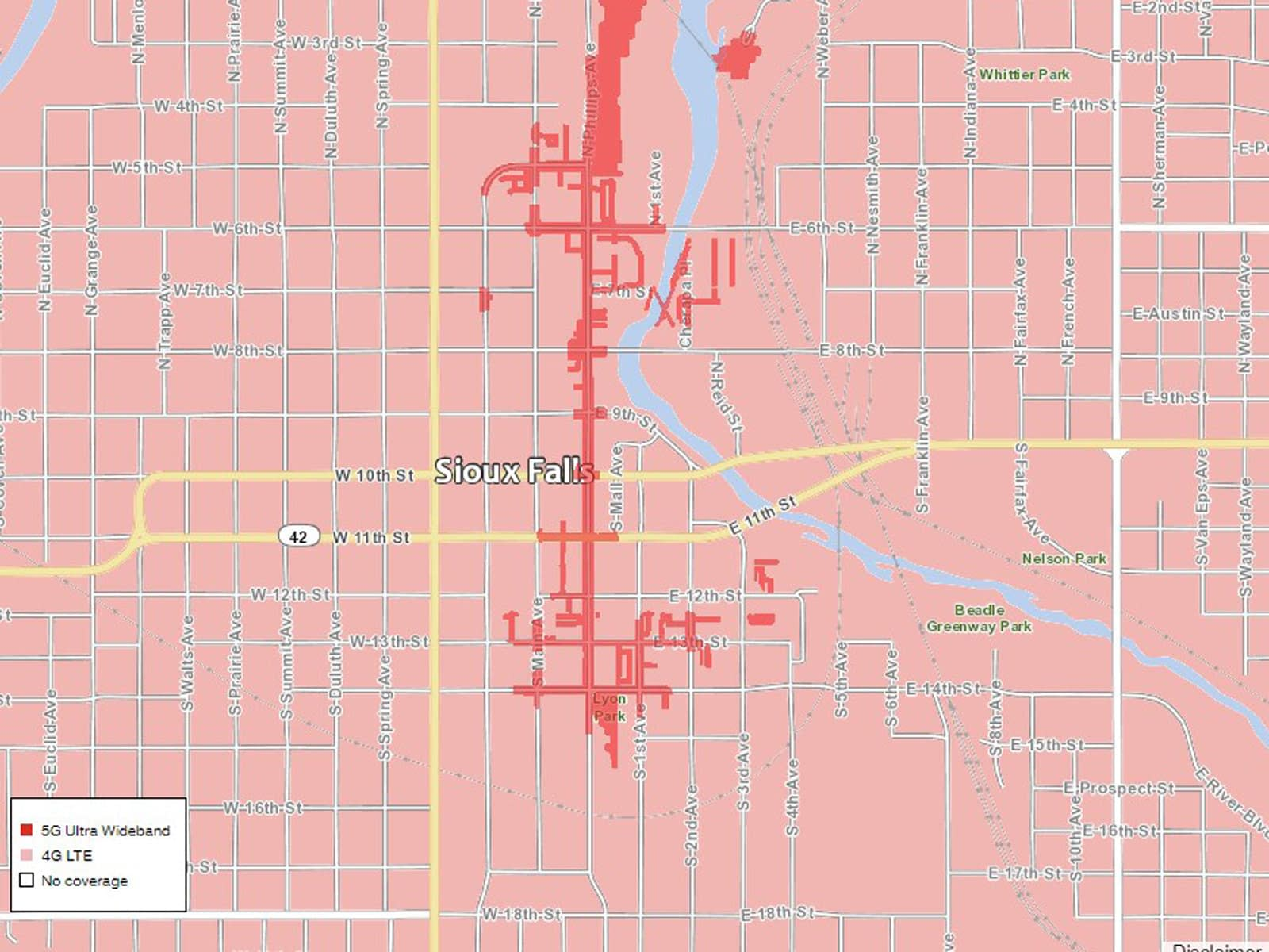 Verizon Sioux Falls 5G coverage map
