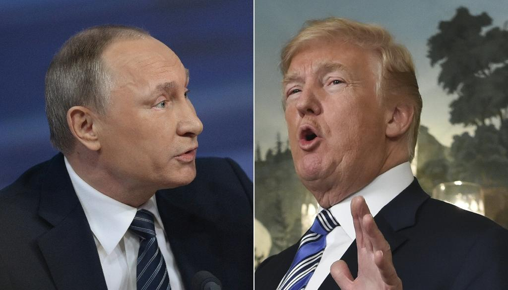 Russian leader Vladimir Putin (left) is evoked by the titular Mikado character while US President Donald Trump is represented as a composite of several characters (AFP Photo/NATALIA KOLESNIKOVA, Nicholas Kamm)