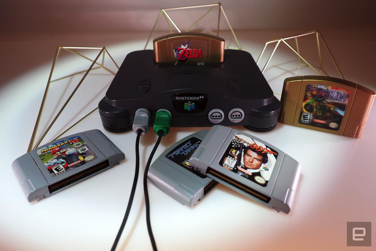 Nintendo 64 with Zelda, Mario Kart 64, Perfect Dark and GoldenEye 007